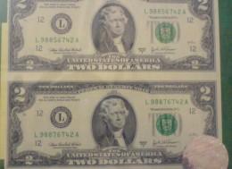 Две нерезаные двух долларовые купюры, выигранные мной в форкс конкурсе, online-forex-show