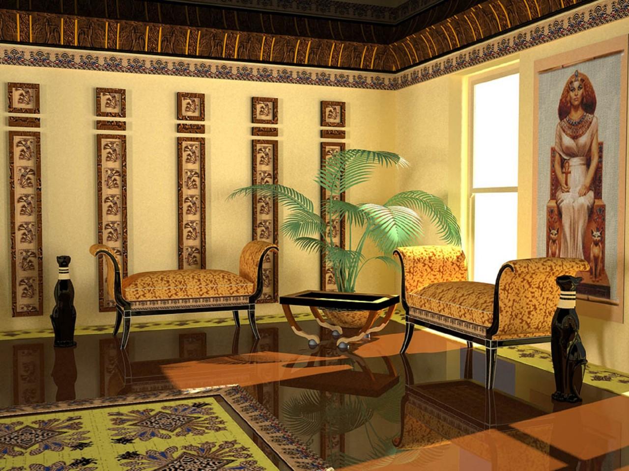 Египетский стиль интерьера