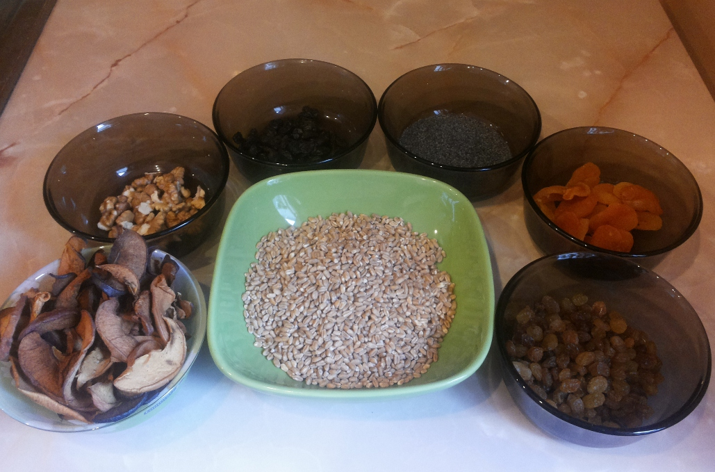 кутья из пшеницы, продукты для кутьи из пшеницы, рождественский стол, produkty dlja kut'i